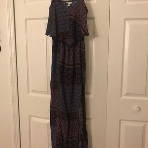 Long tight fitted dress slit on the side open back